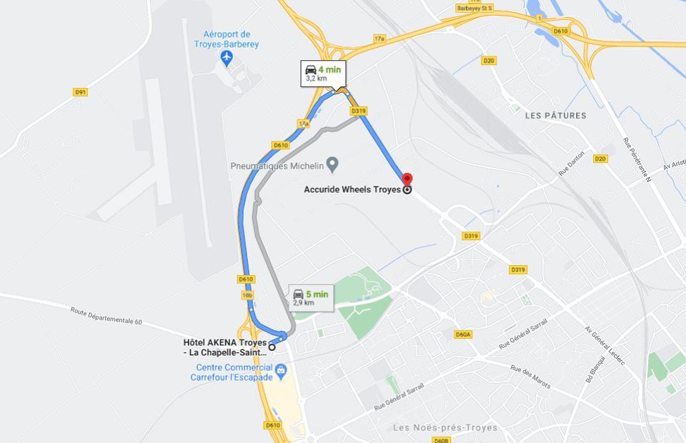 Découvrez la distance entre l'Akena Hôtel Troyes et Accuride Wheels Troyes.