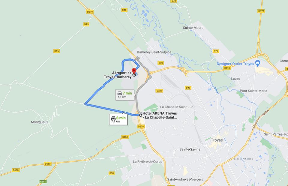 Découvrez la distance entre l'Akena Hôtel Troyes et l'aéroport de Troyes-Barberey.
