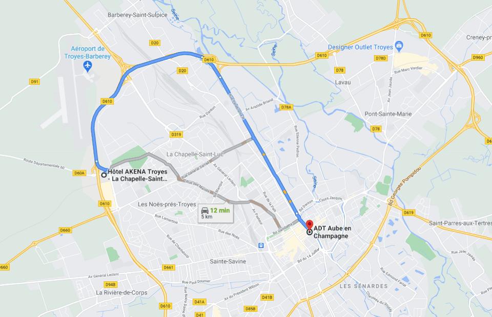 Découvrez la distance entre l'Akena Hôtel Troyes et les caves de Champagne.