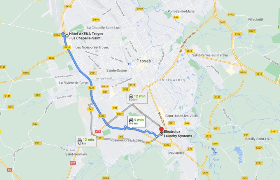 Découvrez la distance entre l'Akena Hôtel Troyes et Electrolux Laundry Systems.