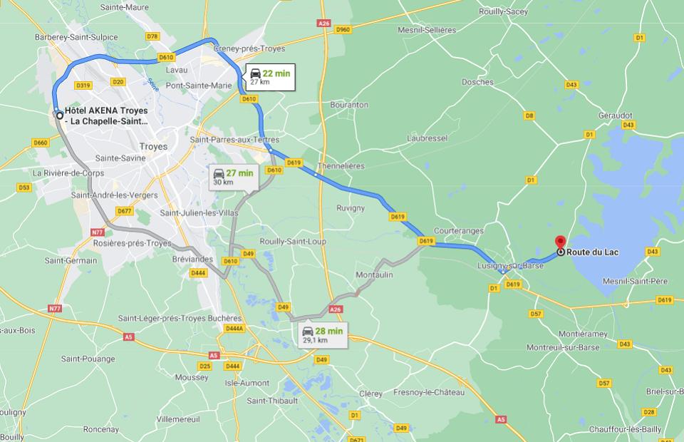 Découvrez la distance entre l'Akena Hôtel Troyes et le lac de la Forêt d'Orient.