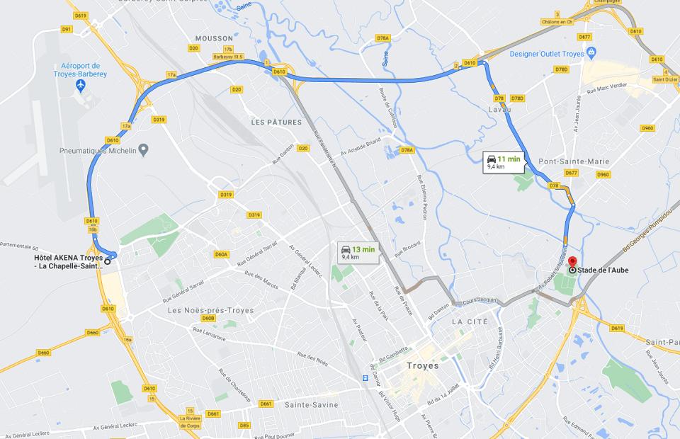 Découvrez la distance entre l'Akena Hôtel Troyes et le stade de Troyes.