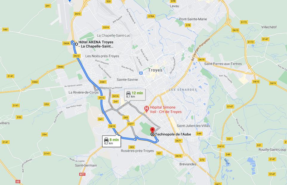 Découvrez la distance entre l'Akena Hôtel Troyes et la Technopole de l'Aube.
