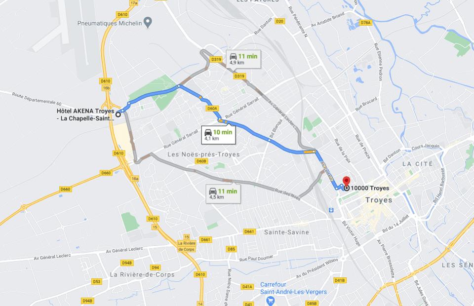 Découvrez la distance entre l'Akena Hôtel Troyes et le centre-ville de Troyes.