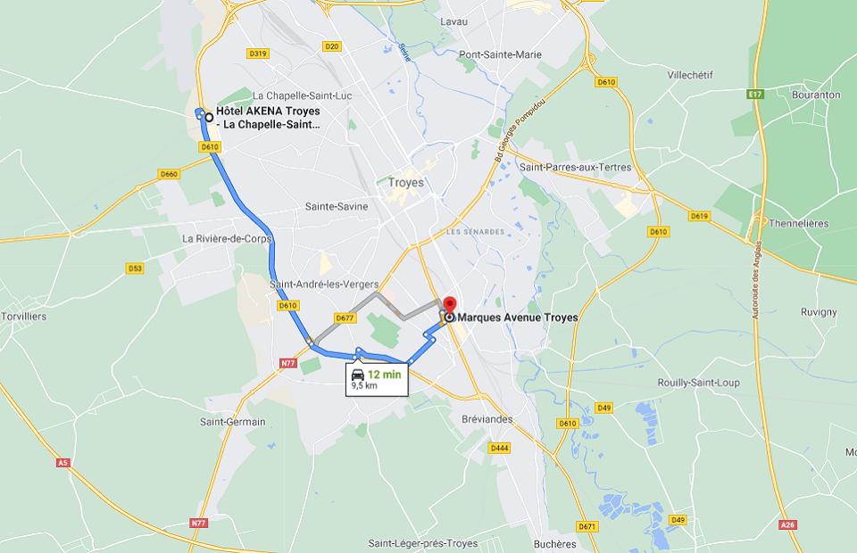 Découvrez la distance entre l'Akena Hôtel Troyes et le village des marques.